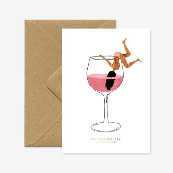 """Glückwunschkarte """"Just a drink """""""