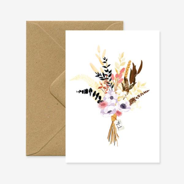 "Grußkarte ""Boho-Blumenstrauß"""