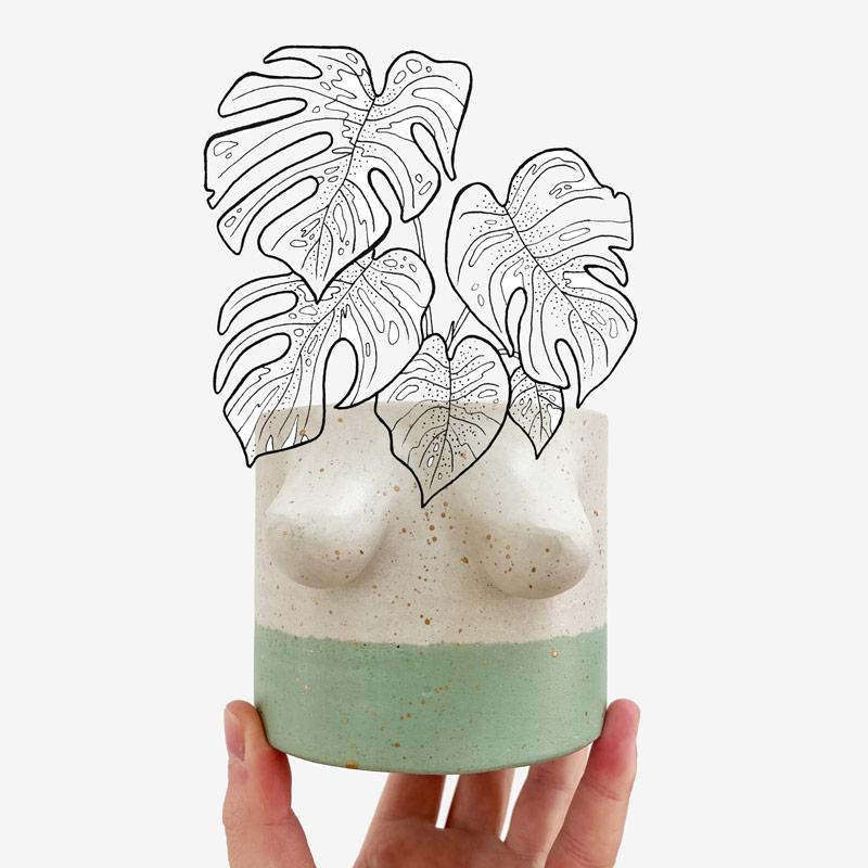 Boobie grün mit Pflanze
