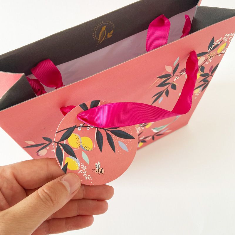 Geschenktüte-Pink-mit Vögeln Geschenkanhänger im Detail in der Hand