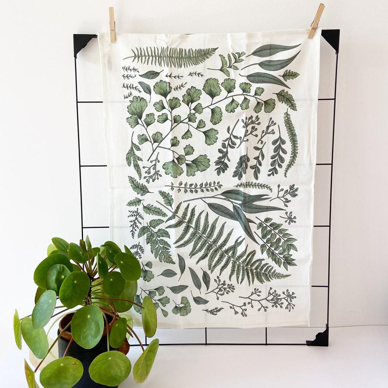 Geschirrhandtuch Pflanzenblätter mit grüner Pflanze