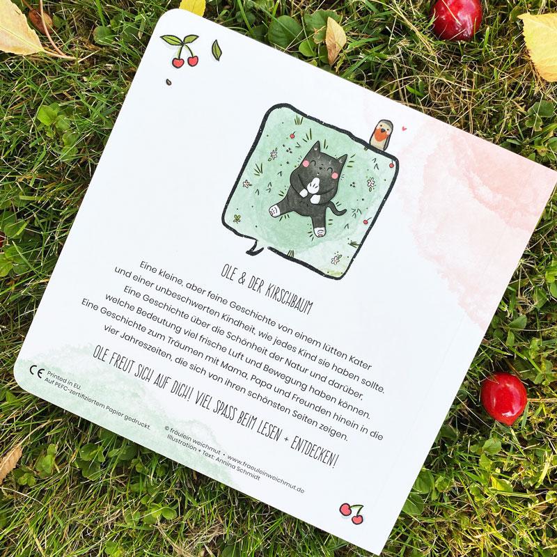 """Kinderbuch """"Ole und der Kirschbaum"""" - Buchrücken mit Kirschen"""