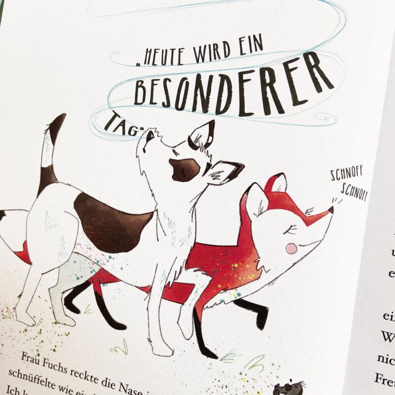 Kinderbuch-Herr Manfried und der Papadu_Innenseite_Fuchs und Hund Illustration