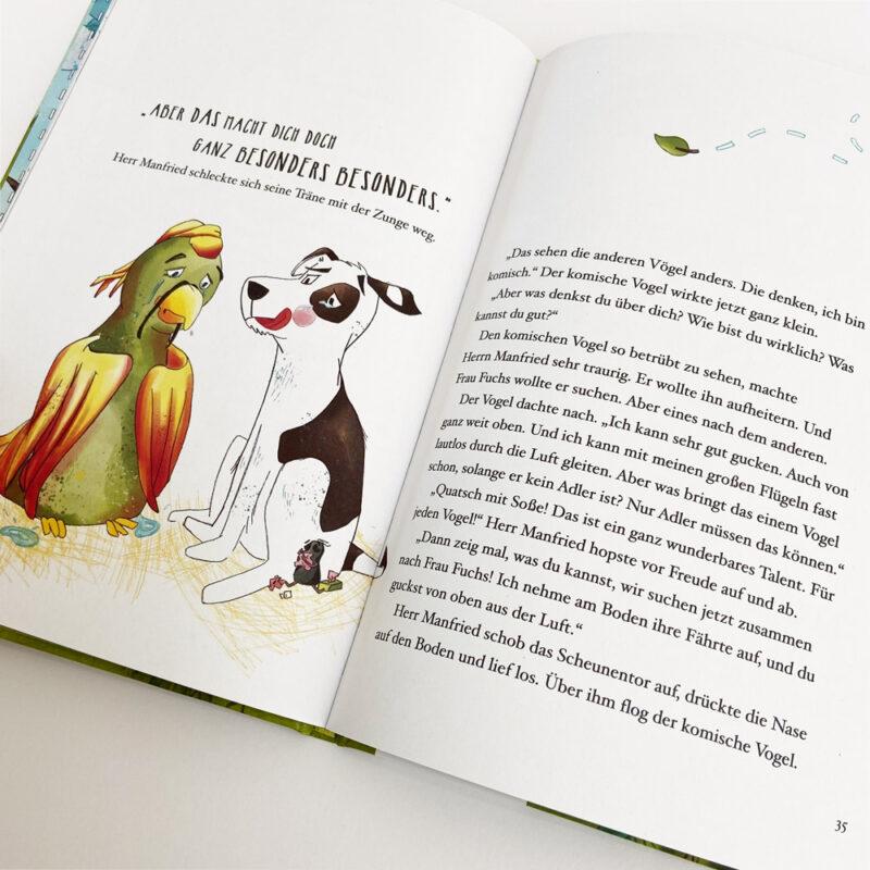 Kinderbuch-Papadu_Innenseite Vogel und Hund