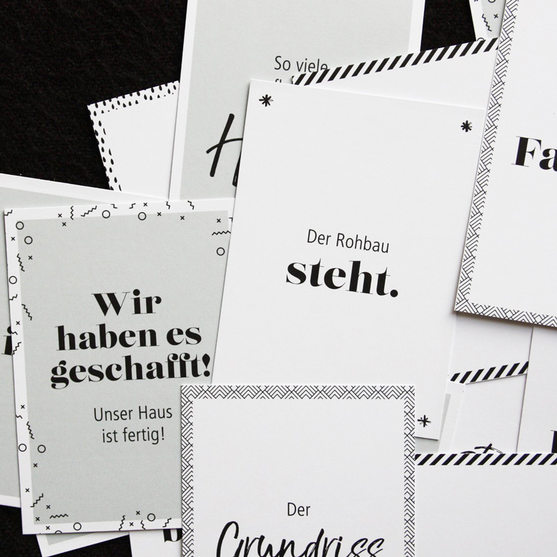 Meilensteinkartenset-Hausbau-verschiedene Karten