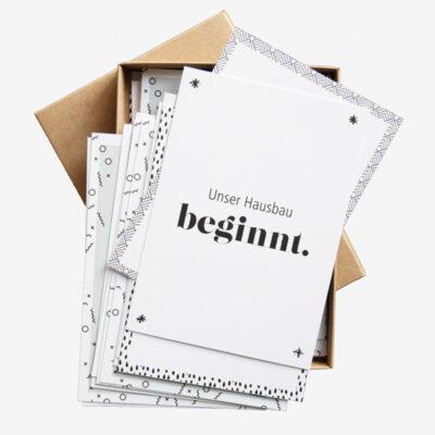 Meilensteinkartenset-Hausbau- Karten in Box