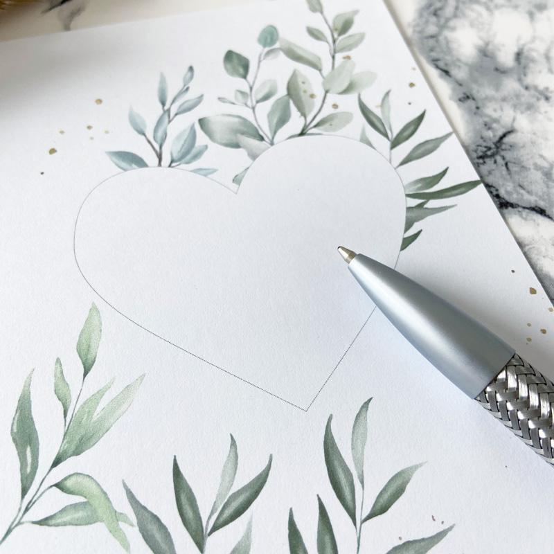 Rubbelkarte mit Blanko Herz und Stift