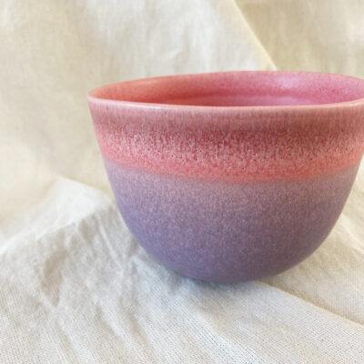 Schale-Sundown_rosa lila Farbverlauf auf Baumwolltuch Detail