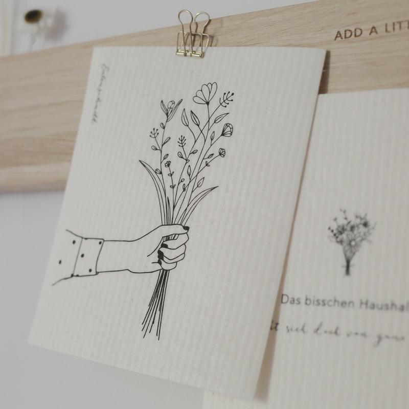 Schwammtuch Blumenliebe - Blumenstrauß Detail