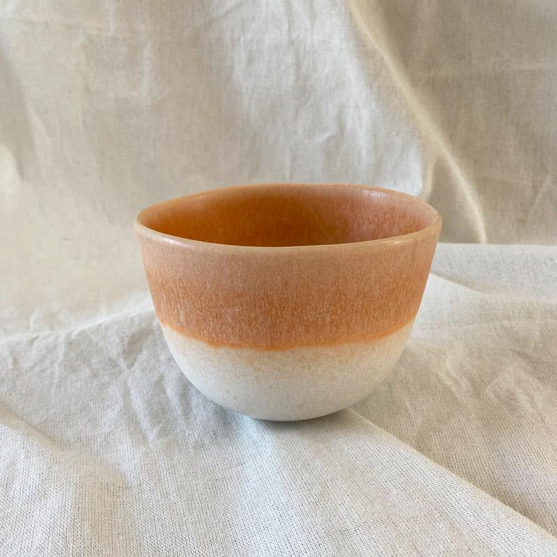 Sommerschüssel_orange weißer Farbverlauf auf Baumwolltuch