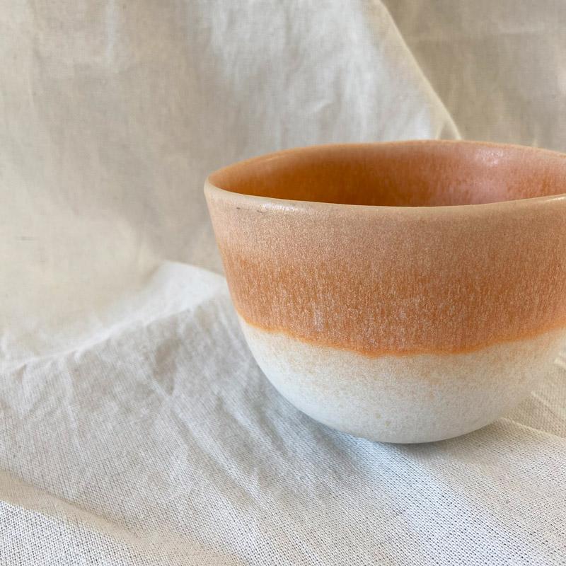 Sommerschüssel_orange weißer Farbverlauf auf Baumwolltuch Detail