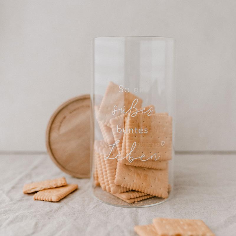 "Vorratsglas ""Süßes buntes Leben"" mit Keksen"
