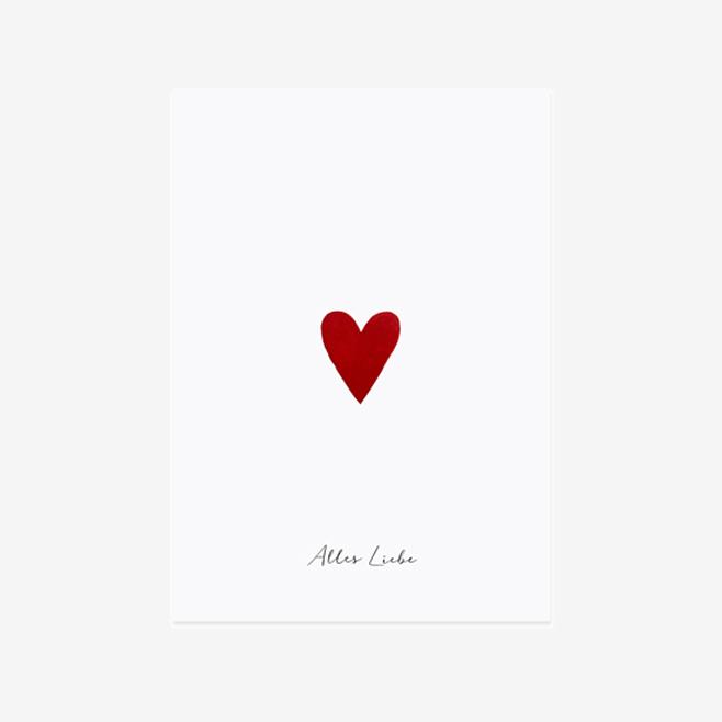 Postkarte mit kleinem roten Herz