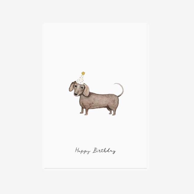 Postkarte mit Dackel und Partyhut und Schrift Happy Birthday
