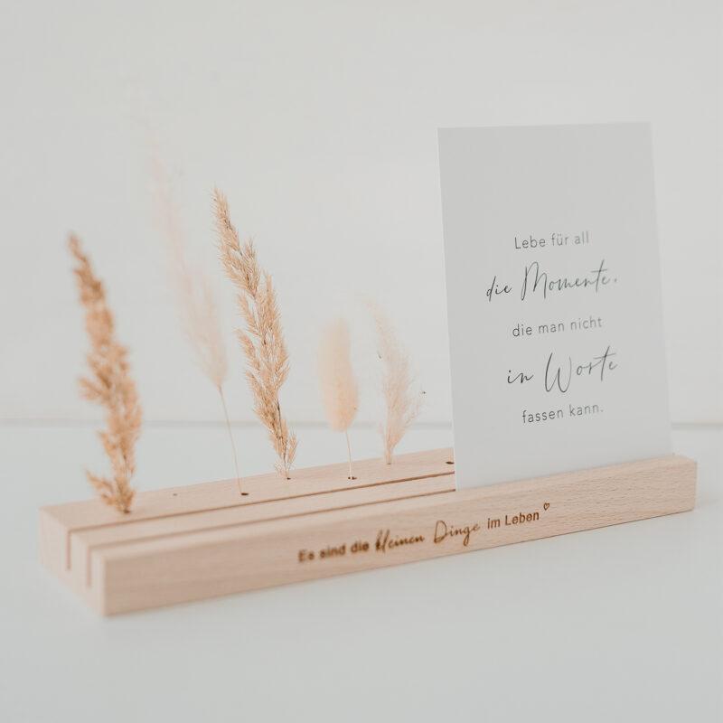 """Karten- und Blumenleiste mit Spruch """"Es sind die kleinen Dingen im Leben"""""""